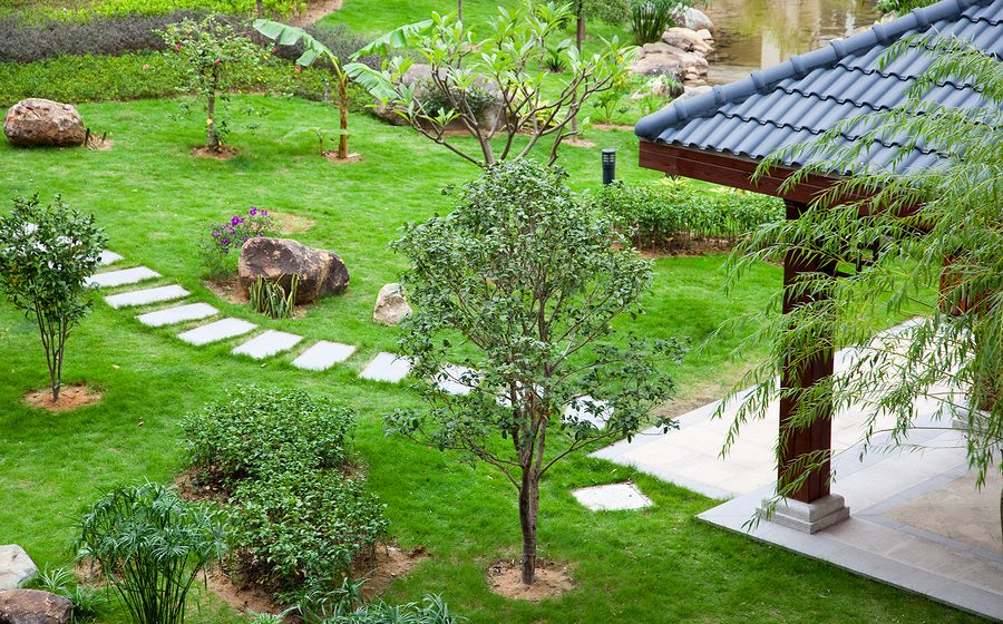 Gazebo and footpath landscaping in a beautiful garden